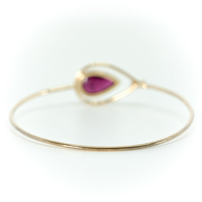 Pink Peacock Bangle Bracelet Created by Marion Jeantet In New Condition For Sale In Paris, FR