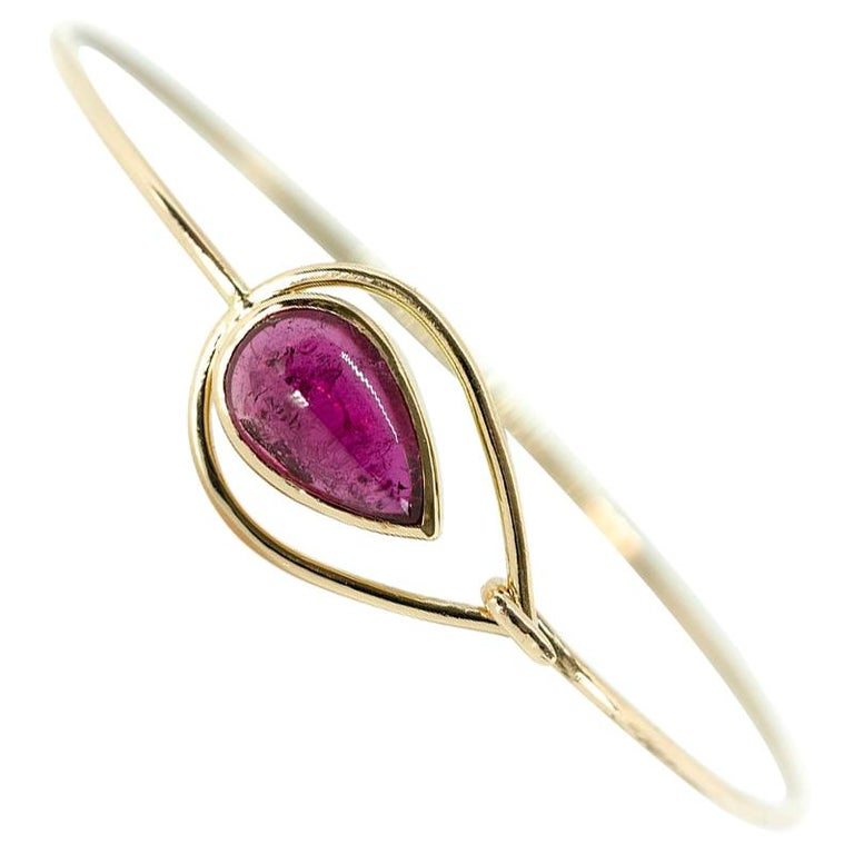 Pink Peacock Bangle Bracelet Created by Marion Jeantet For Sale