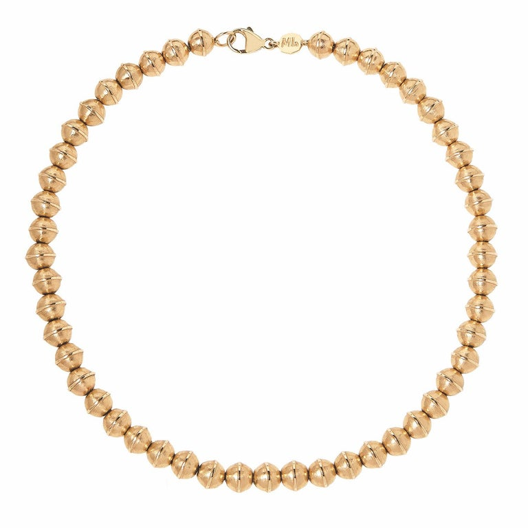 Women's Marlo Laz Pearl 14K Yellow Gold Bead Squash Blossom Southwestern Collar Necklace For Sale