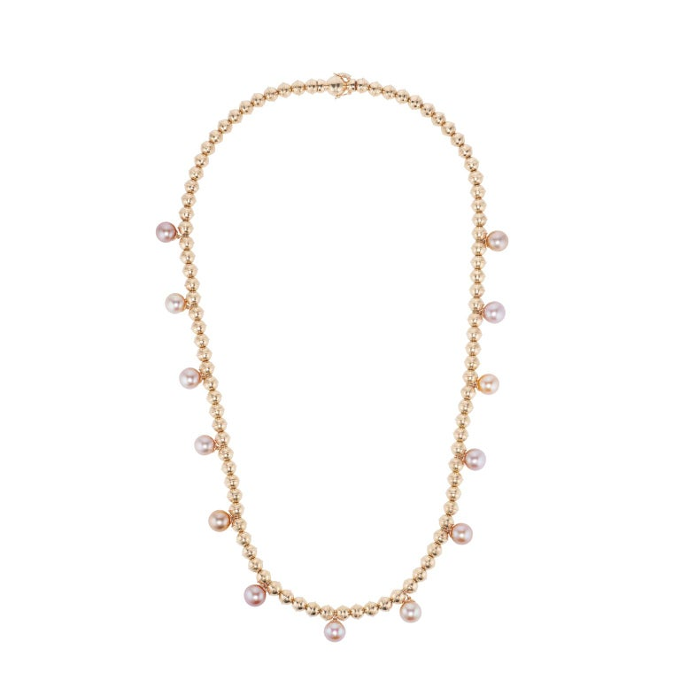 Marlo Laz Pearl 14K Yellow Gold Bead Squash Blossom Southwestern Collar Necklace For Sale 1