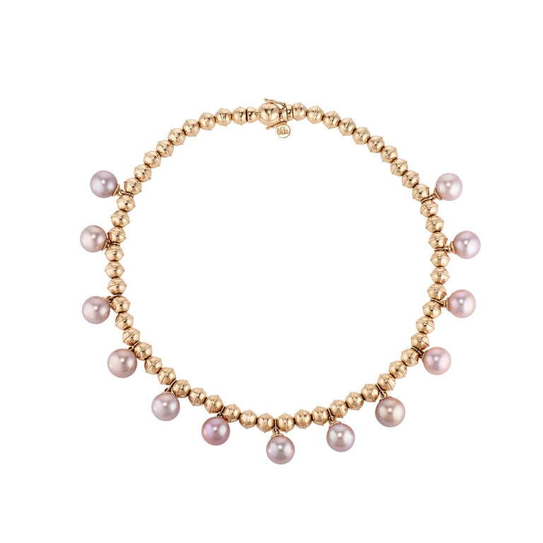 Marlo Laz Pink Pearl 14K Yellow Gold Bead Squash Blossom Stackable Bracelet In New Condition For Sale In New York, NY