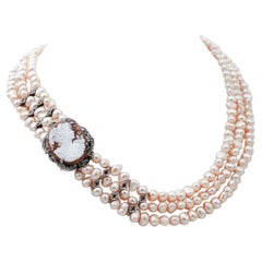 Pink Pearls, Diamonds, Emeralds,Topazs, Cameo, 9kt Rose Gold and Silver Necklace