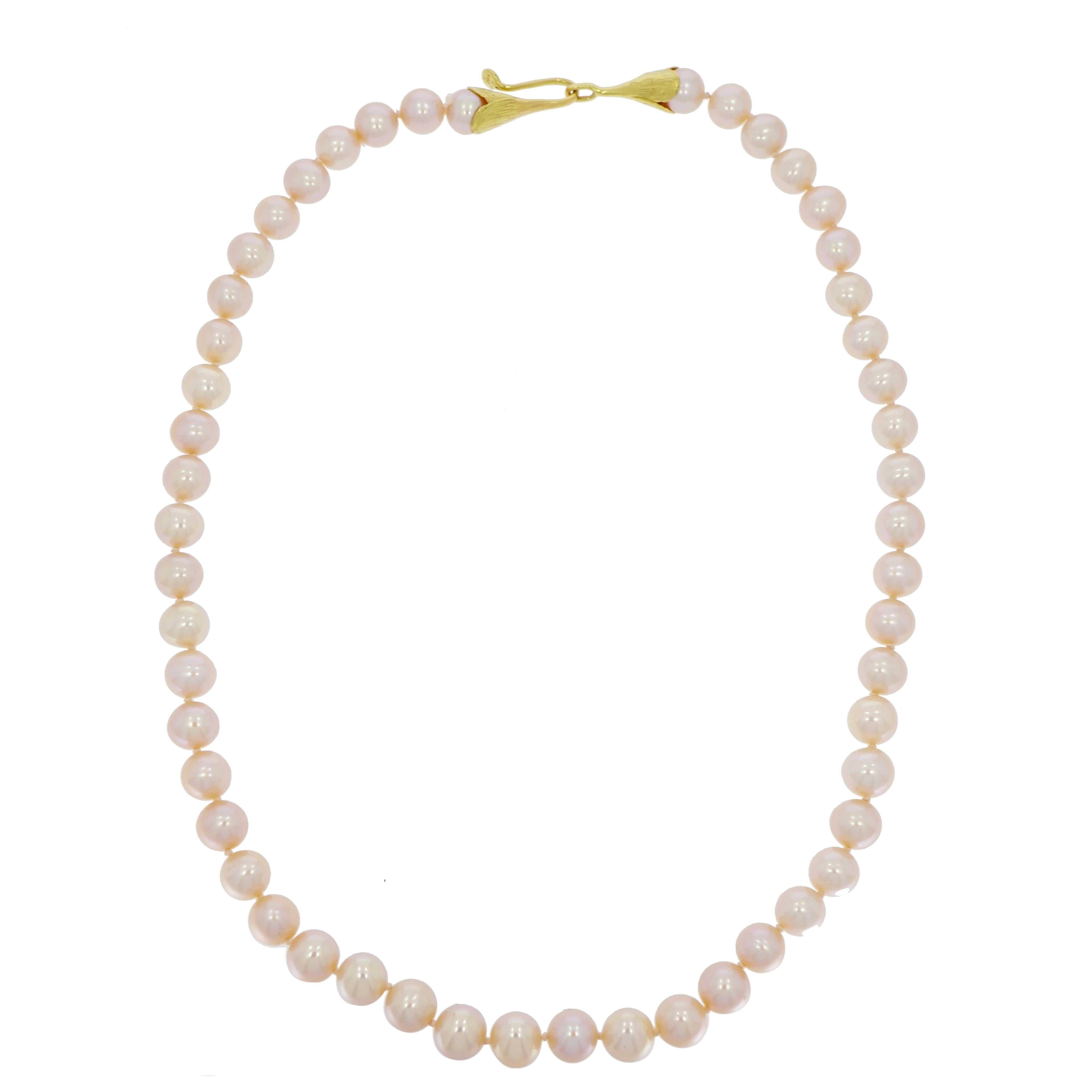 Pink Pearls Necklace with Yellow Gold Clasp