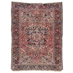 Pink Persian Heriz Rug with Medallion and Blue Yellow Detail