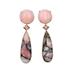 Pink Peruvian Opal Cabochon, Tourmaline and Copper Opal Drop Earrings