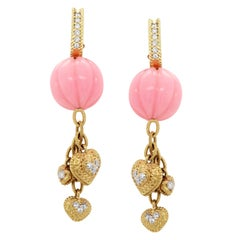 Pink Peruvian Opal Gold and Diamond Drop Earrings with Dangling Hearts