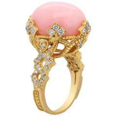 Pink Peruvian Opal Yellow Gold and Diamond Cocktail Ring Stambolian