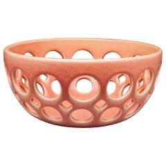 Pink Pierced Ceramic Tabletop Bowl, in Stock