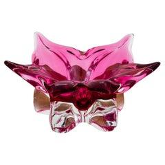 Pink Plate by J. Hospodka, Chřibská Glassworks, 1960s