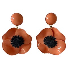 Pink Poppy Statement Drop Earrings