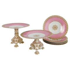 Pink Porcelain Dessert Service, Spectacular Claw-Footed Tazzas, Victorian