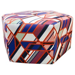 Pink Pouf Ottoman Geometric Psychedelic Original Design in Maharam Upholstery