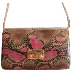 Pink Python Vintage Shoulder Leather Purse Bag 1970's