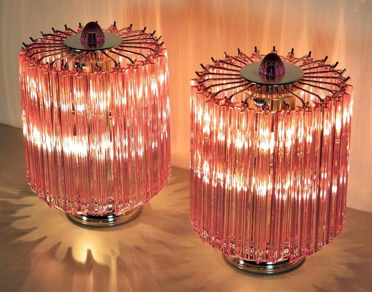 Italian Pink Quadriedri Table Lamp, Venini Style