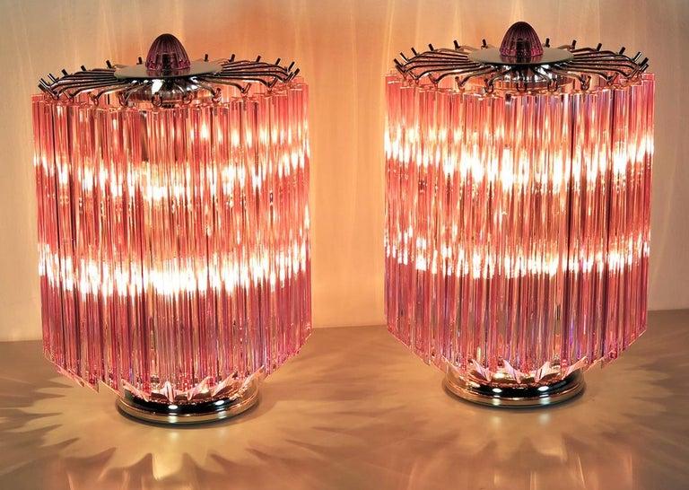 20th Century Pink Quadriedri Table Lamp, Venini Style
