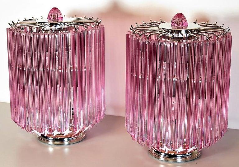 Metal Pink Quadriedri Table Lamp, Venini Style