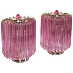 Pink Quadriedri Table Lamp, Venini Style