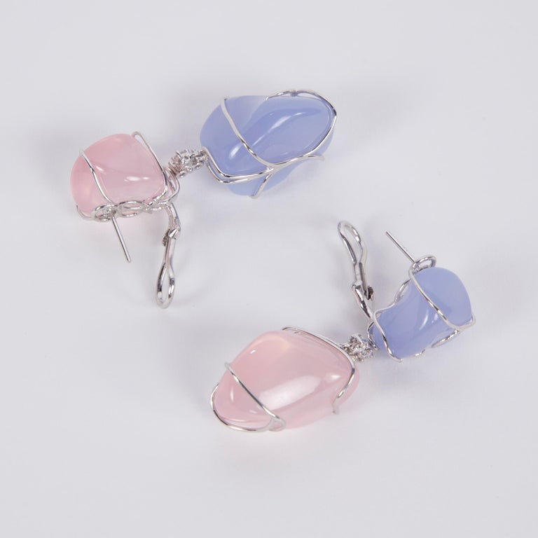 Fabulous Free-form Chalcedony and Pink Quartz Diamond Drop Earrings; hand crafted in 18k white gold; featuring 2 free-form cabochon Chalcedony 2 free-form cabochon Pink Quartz; each earring inter-spaced with 3 round brilliant cut Diamonds