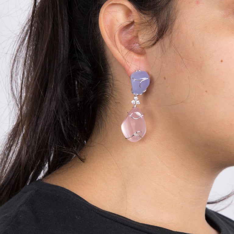Modern Pink Quartz and Blue Chalcedony Diamond Statement Earrings For Sale