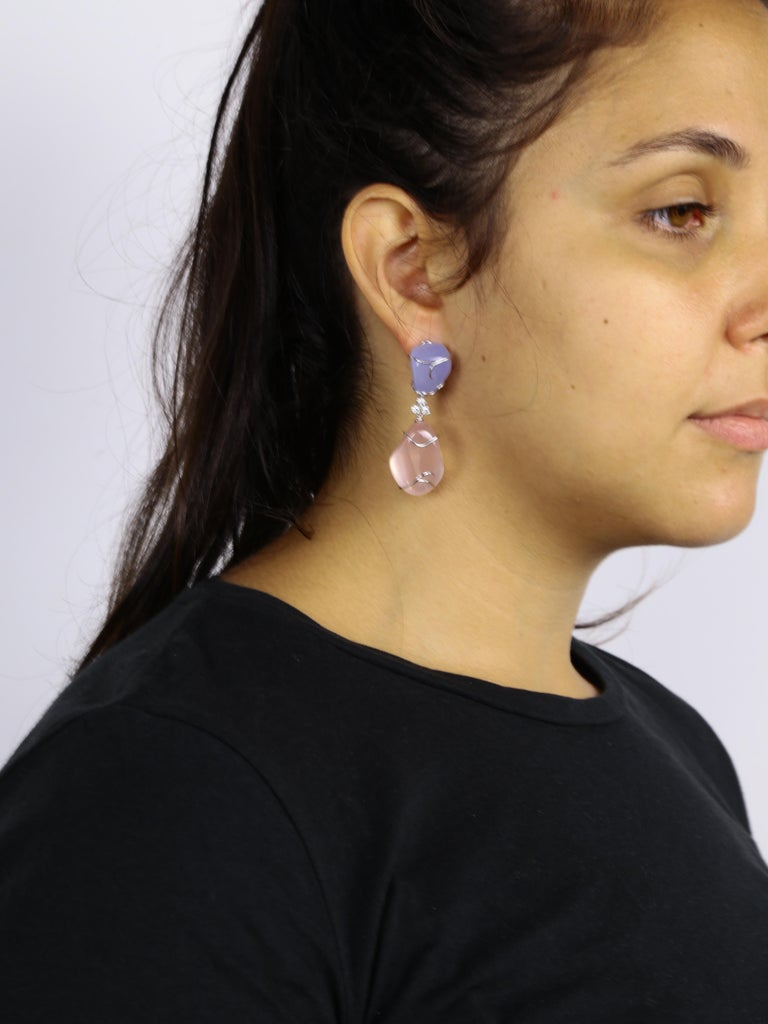 Pink Quartz and Blue Chalcedony Diamond Statement Earrings In New Condition For Sale In Montreal, QC