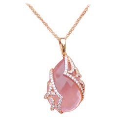 Pink Quartz and Diamond Pendant 18 Karat Pink Gold