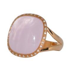 Pink Quartz and Diamonds Pink Gold Ring