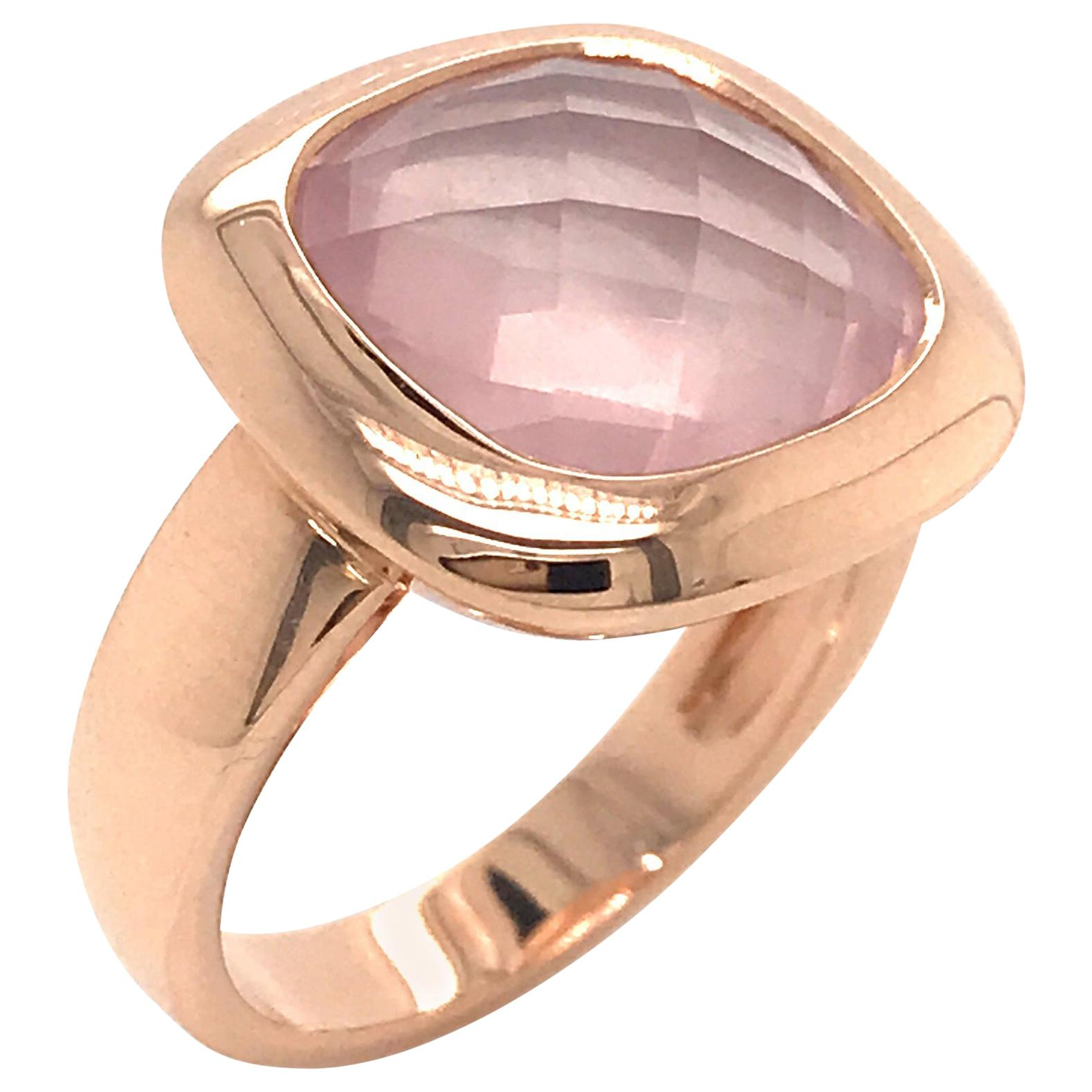 Pink Quartz Briolette Cut and Rose Gold 18 Karat Fashion Ring