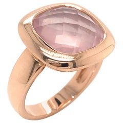 Pink Quartz Briolette Cut and Rose Gold 18 Karat Fashion Ring