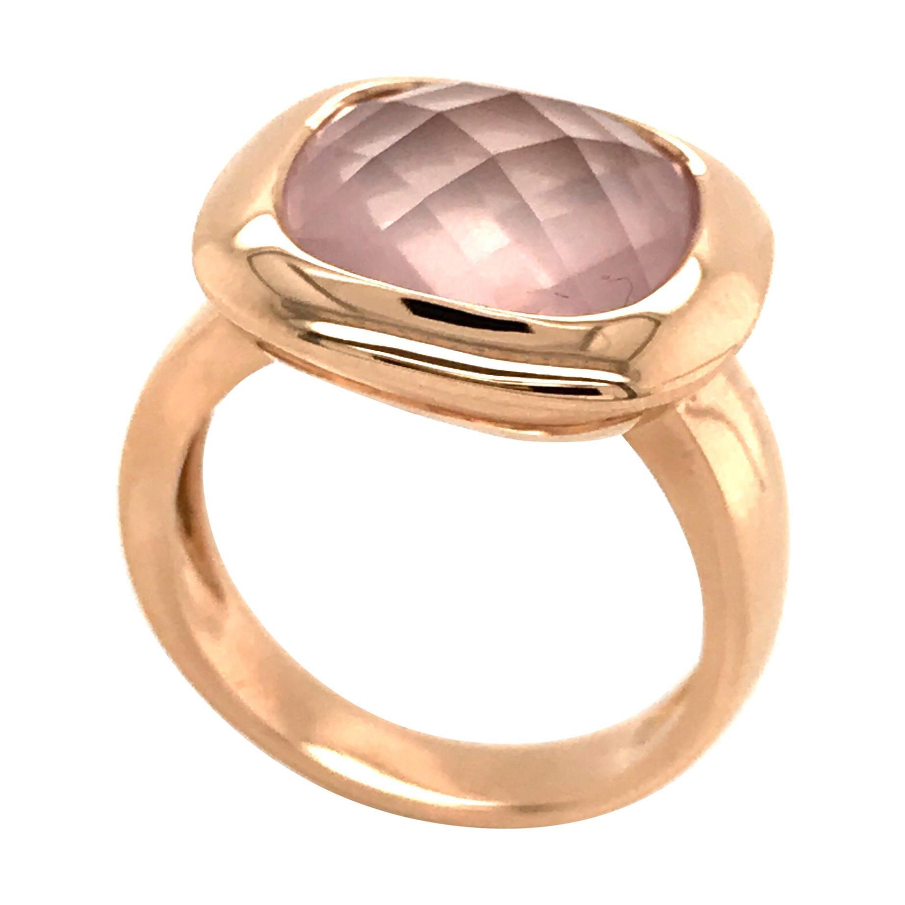 Pink Quartz Briolette Cut on Rose Gold 18 Karat Fashion Ring