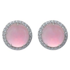 Pink Quartz Diamond 18 Karat White Gold Made in Italy Earrings