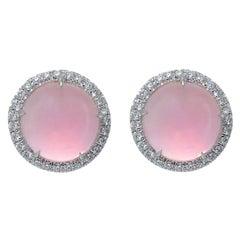 Pink Quartz Diamond 18 Karat White Gold Made in Italy Earrings
