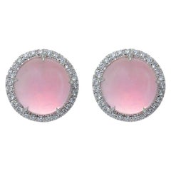 Round Pink Quartz Diamond 18 Karat White Gold Earclips Earrings