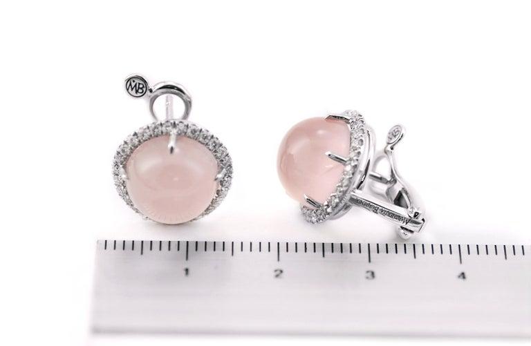 Contemporary Round Pink Quartz Diamond 18 Karat White Gold Earclips Earrings For Sale