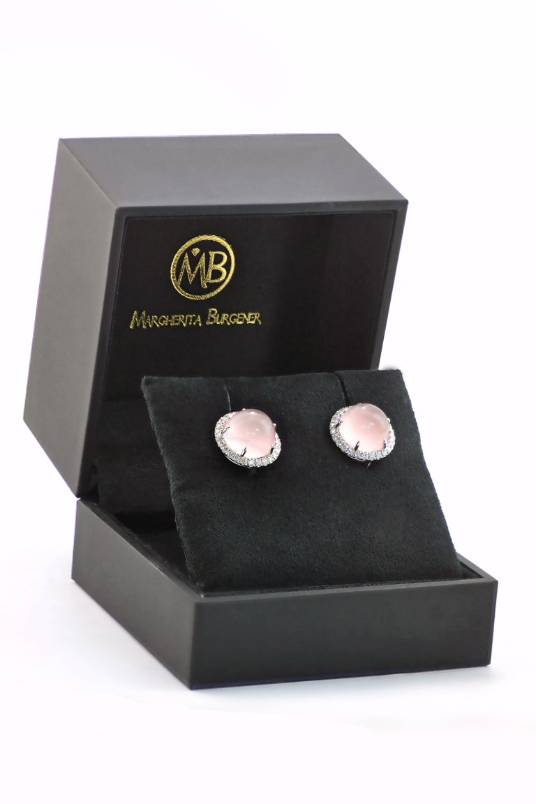 Round Cut Round Pink Quartz Diamond 18 Karat White Gold Earclips Earrings For Sale