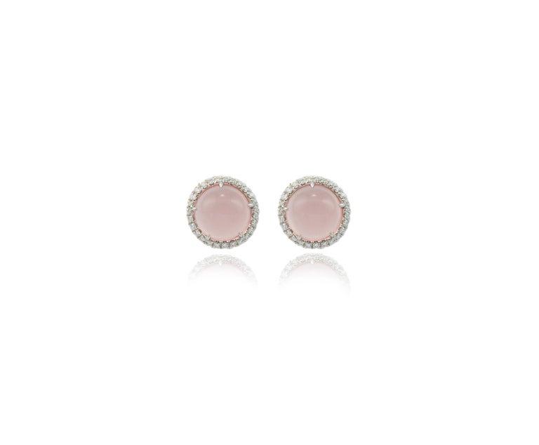 Women's Round Pink Quartz Diamond 18 Karat White Gold Earclips Earrings For Sale