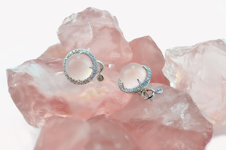 Round Pink Quartz Diamond 18 Karat White Gold Earclips Earrings For Sale 1