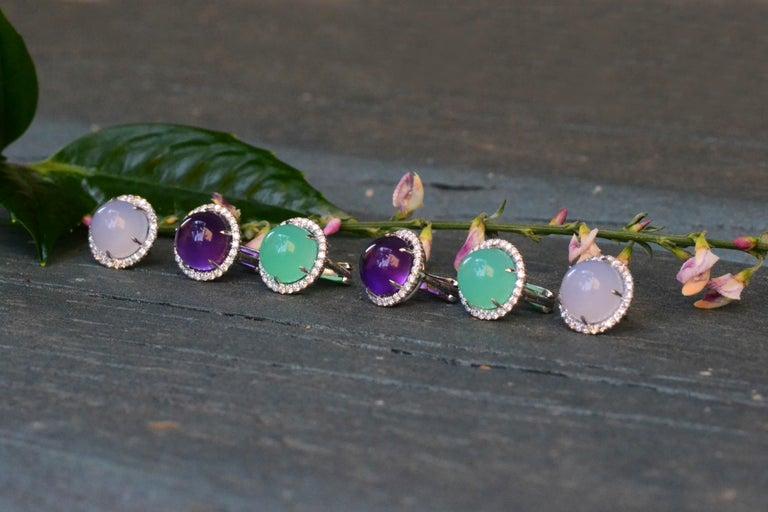 Round Pink Quartz Diamond 18 Karat White Gold Earclips Earrings For Sale 2