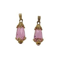 Pink Quartz Diamond Earrings 14 Karat Duchess of Windsor Secretary Mrs Metz