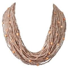 Pink Quartz Multi Strand Necklaces with Bakelite Claps