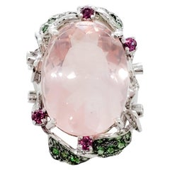 Pink Quartz Oval, Multi-Color Stone, and White Diamond Cocktail Ring in 18 Karat