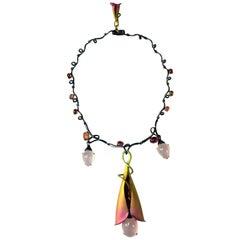 Pink Quartz Pink Tourmalines 18 Karat Gold Titanium Silver Drop Necklace