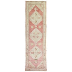 Pink Red 20th Century Wool Handmade Vintage Turkish Runner