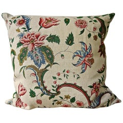 Pink Red Blues Floral Linen Pillow, French, Early 20th Century