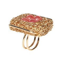 Pink Rhodochrosite Beads with Yellow Gold Statement Ring by Sheila Westera