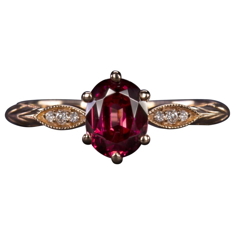 Pink Rhodolite Garnet White Diamonds Pink Rose Gold Solitaire Ring For Sale