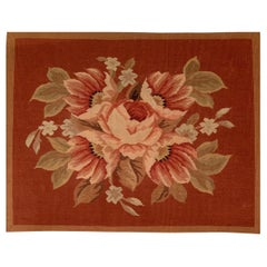 Pink Rose French Aubusson Tapestry Style Needlepoint Lumbar Pillow Case