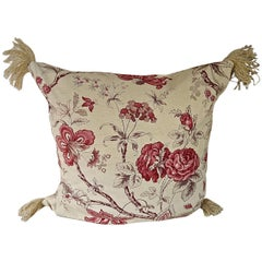 Pink Roses and Flowers Cotton Cushion, French, Early 20th Century