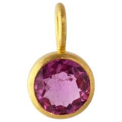 Ico & the Bird Pink Rubellite Tourmaline Pendant in 22 Karat Gold