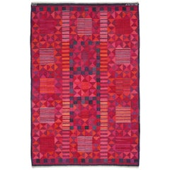 """Pink """"Rubirosa"""" Midcentury Rug by Marianne Richter, Woven Signature 'AB MMF MR'"""