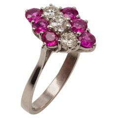 Pink Ruby and Diamond Statement Ring, 18 Karat White Gold, Certificate Included